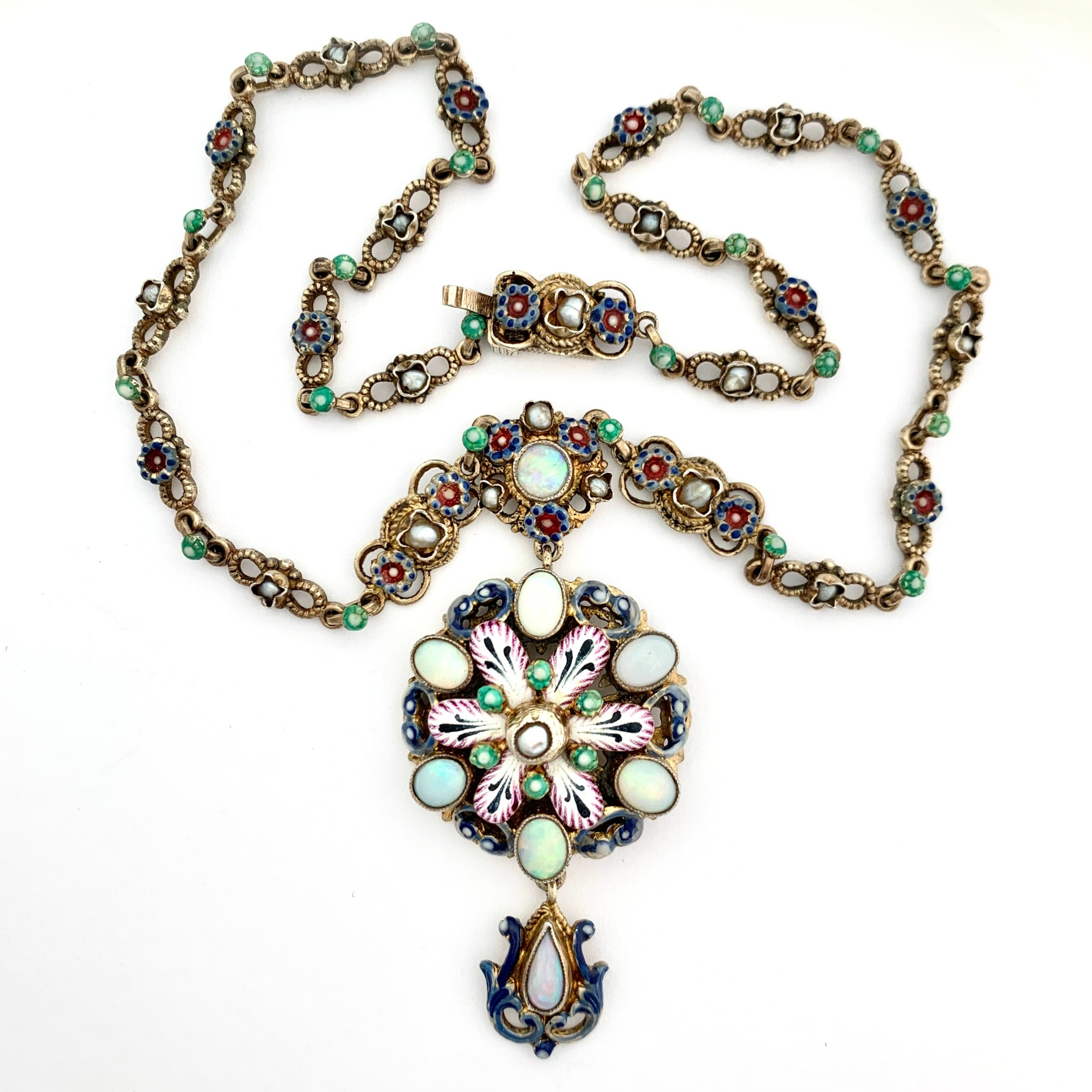 antique austrohungarian opal pearl and enamel silver gilt necklace