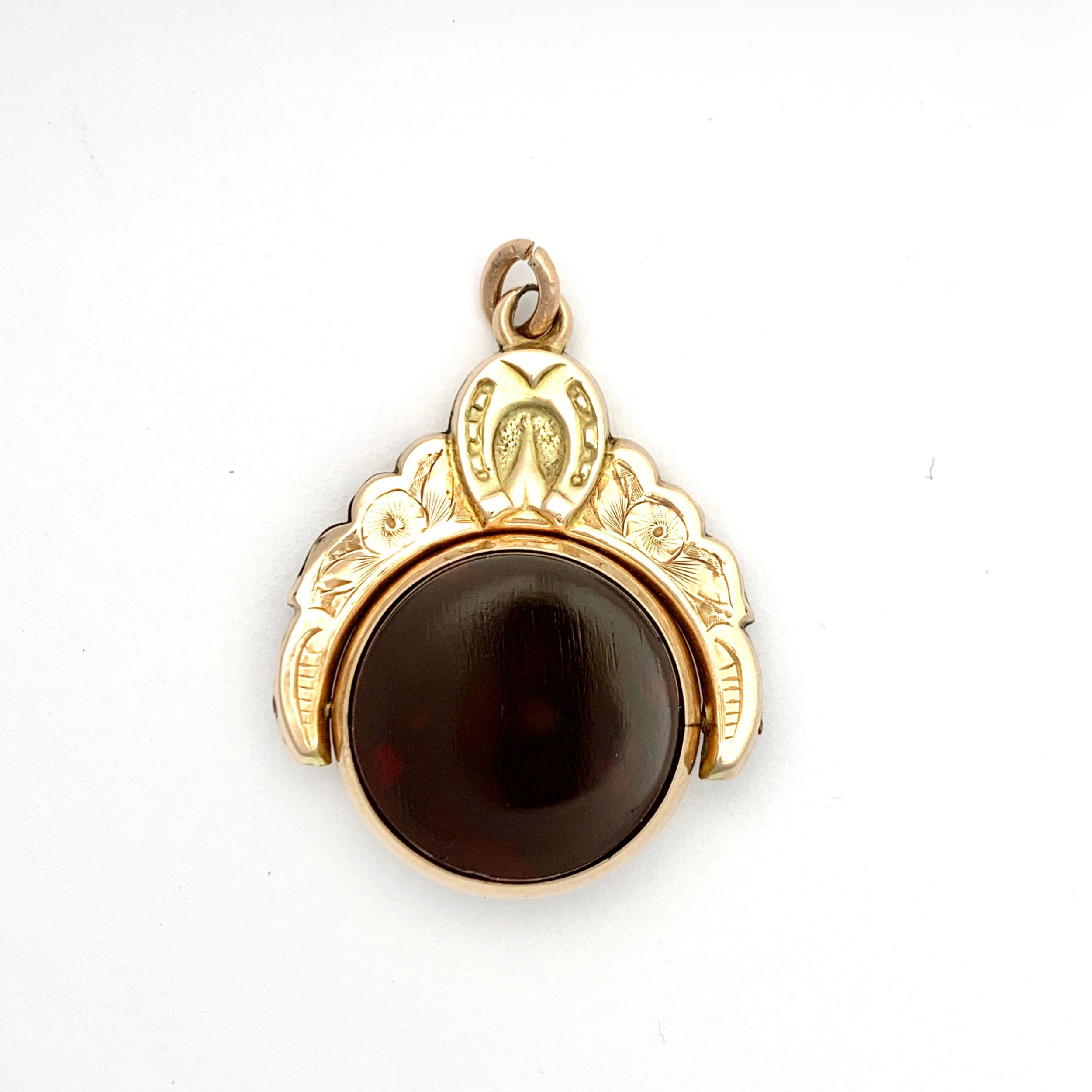 large victorian 1900 bloodstone horseshoe swivel fob pendant in 9ct rose gold