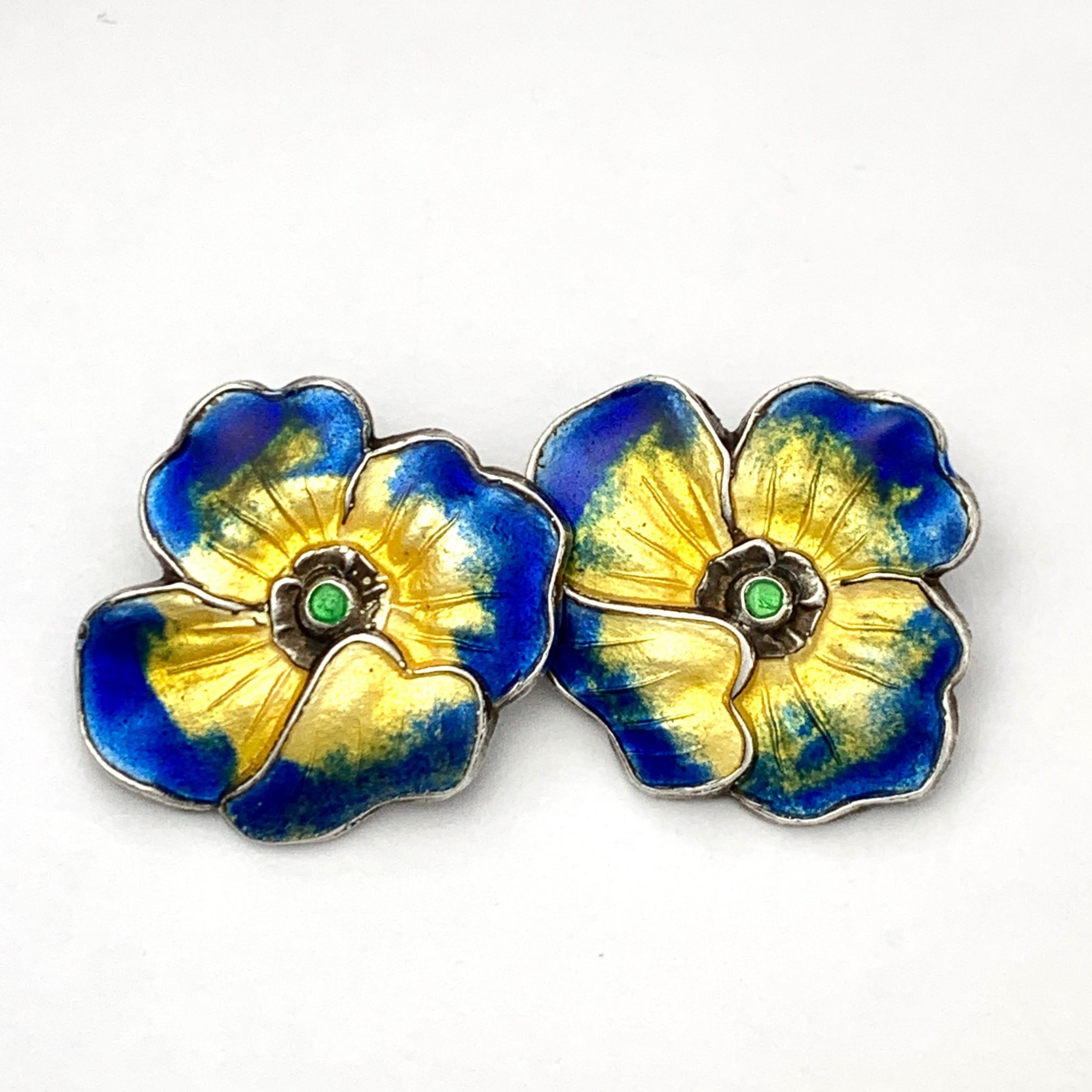 vintage enamel silver flower ear clips