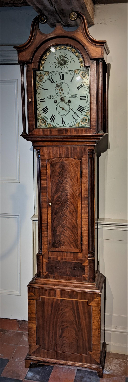 early 19th cent mahogany scottish 8 day long case longcase grandfather clock