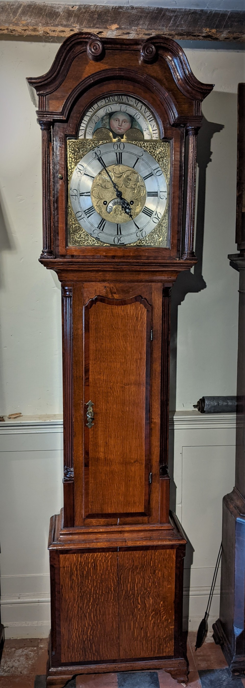 18th cent 8 day moon dial long case longcase grandfather clock