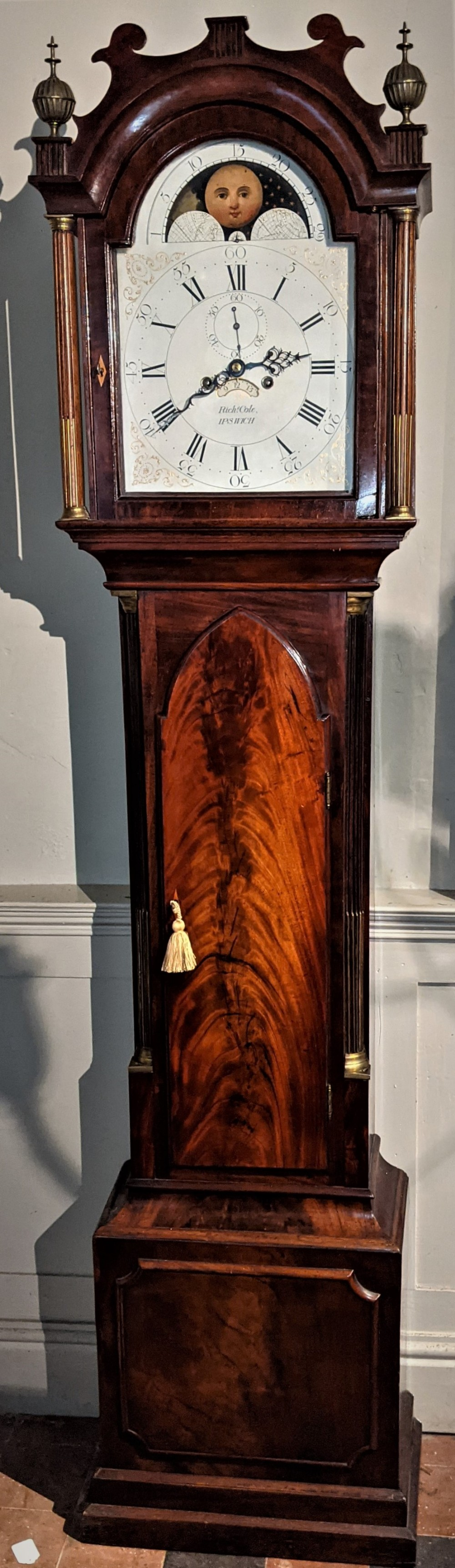 late 18thearly 19th cent moon dial longcase long case grandfather clock