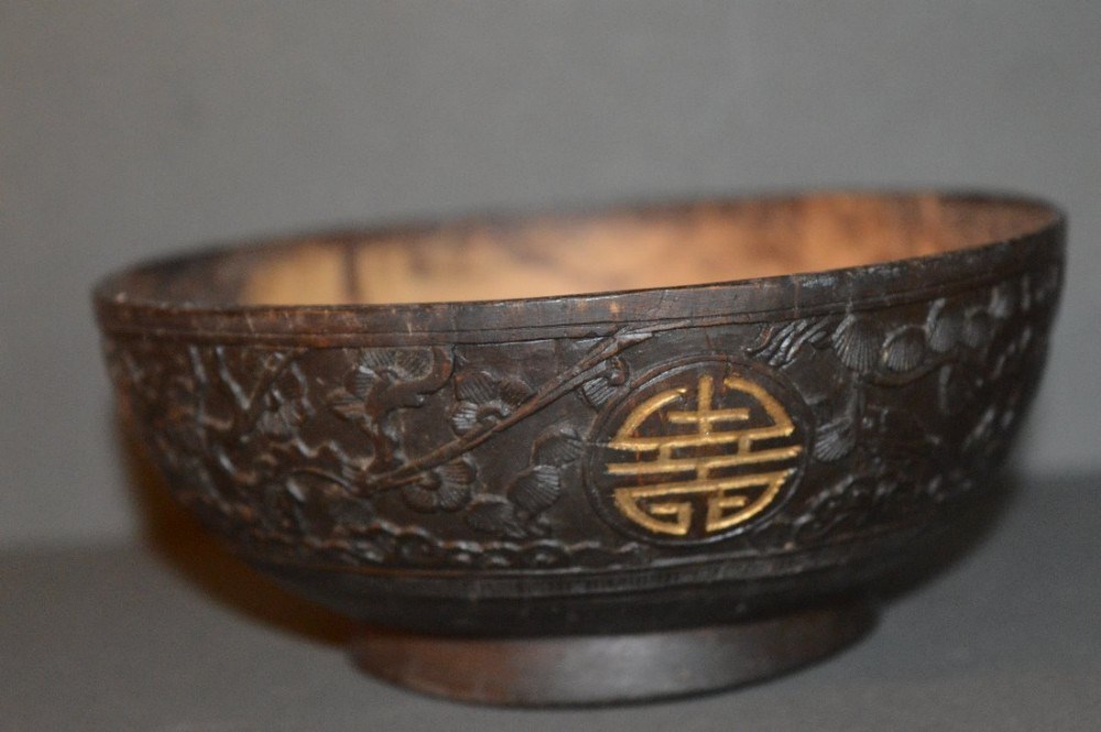 19 th century chinese carved coconut bowlc1870 chou symbols in gilt