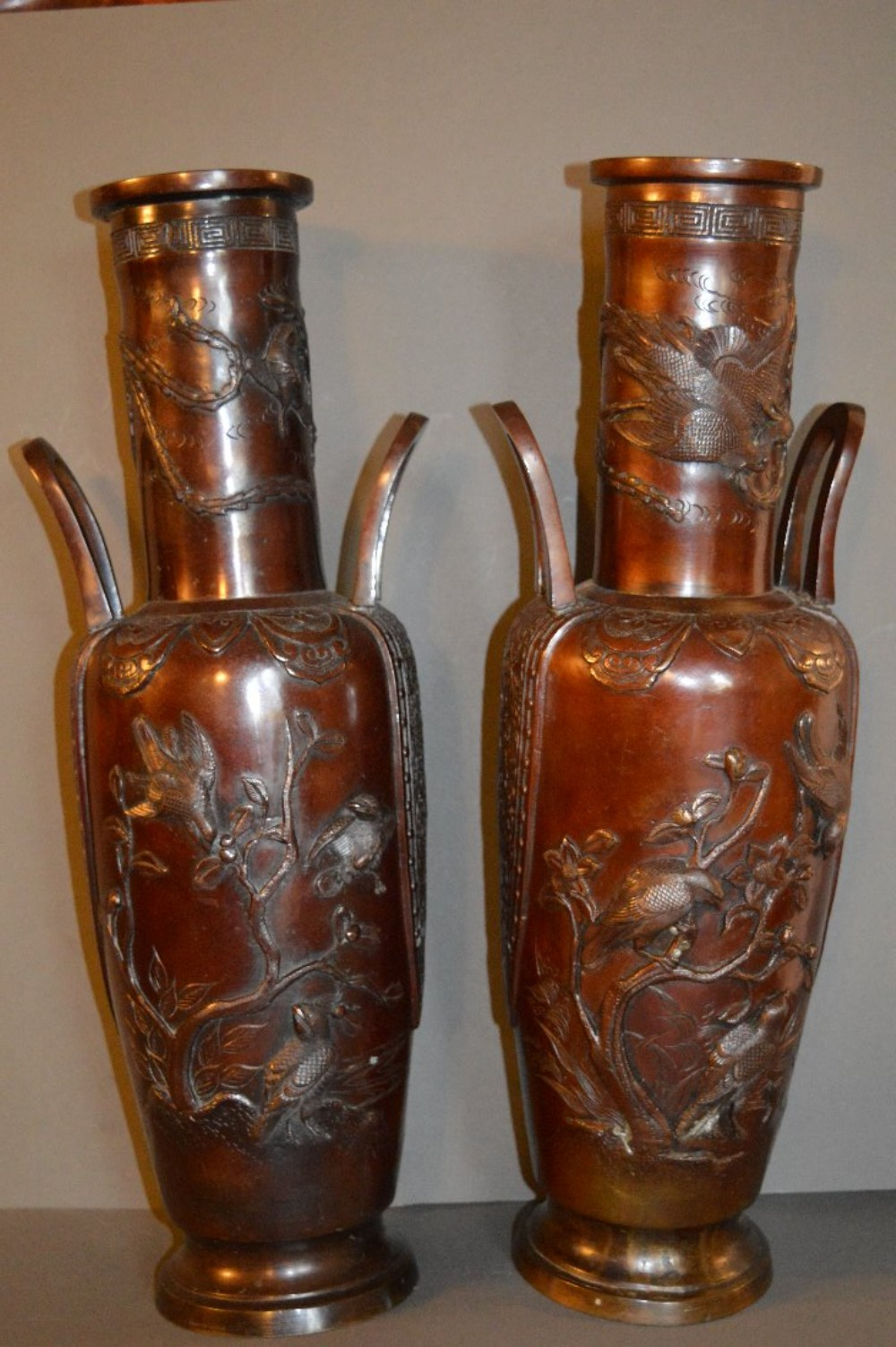 pair large 19th century chinese bronze twin handled vases c 1870