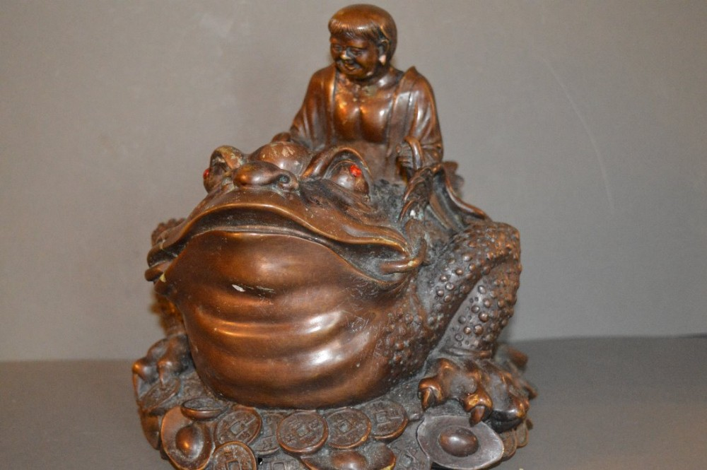 rare large 19th century chinese bronze statue man astride a toadc1890