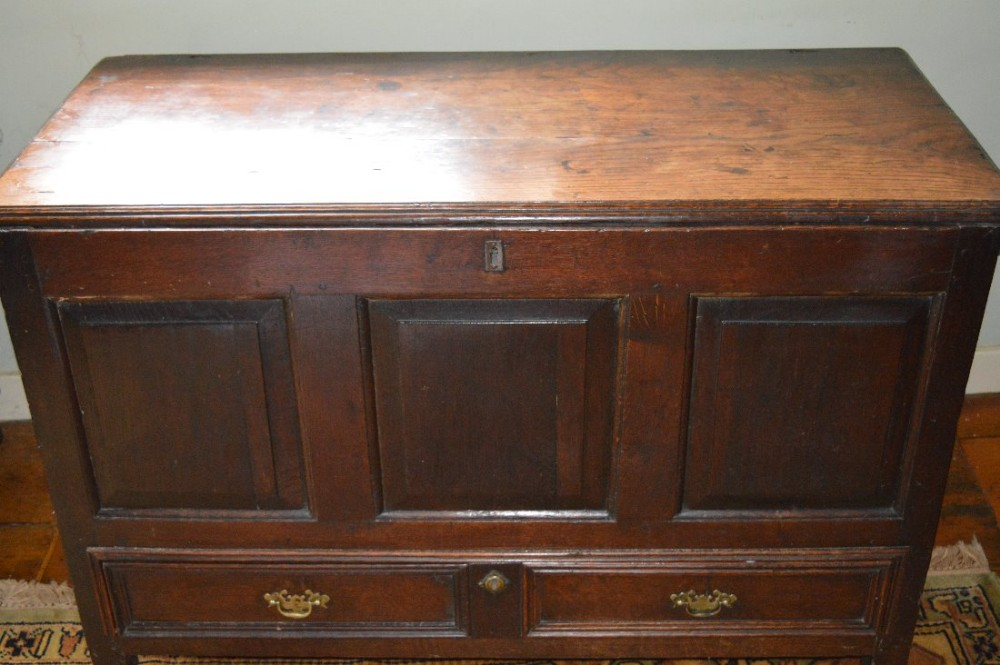 18th century oak mule chest coffer with drawer c 1740