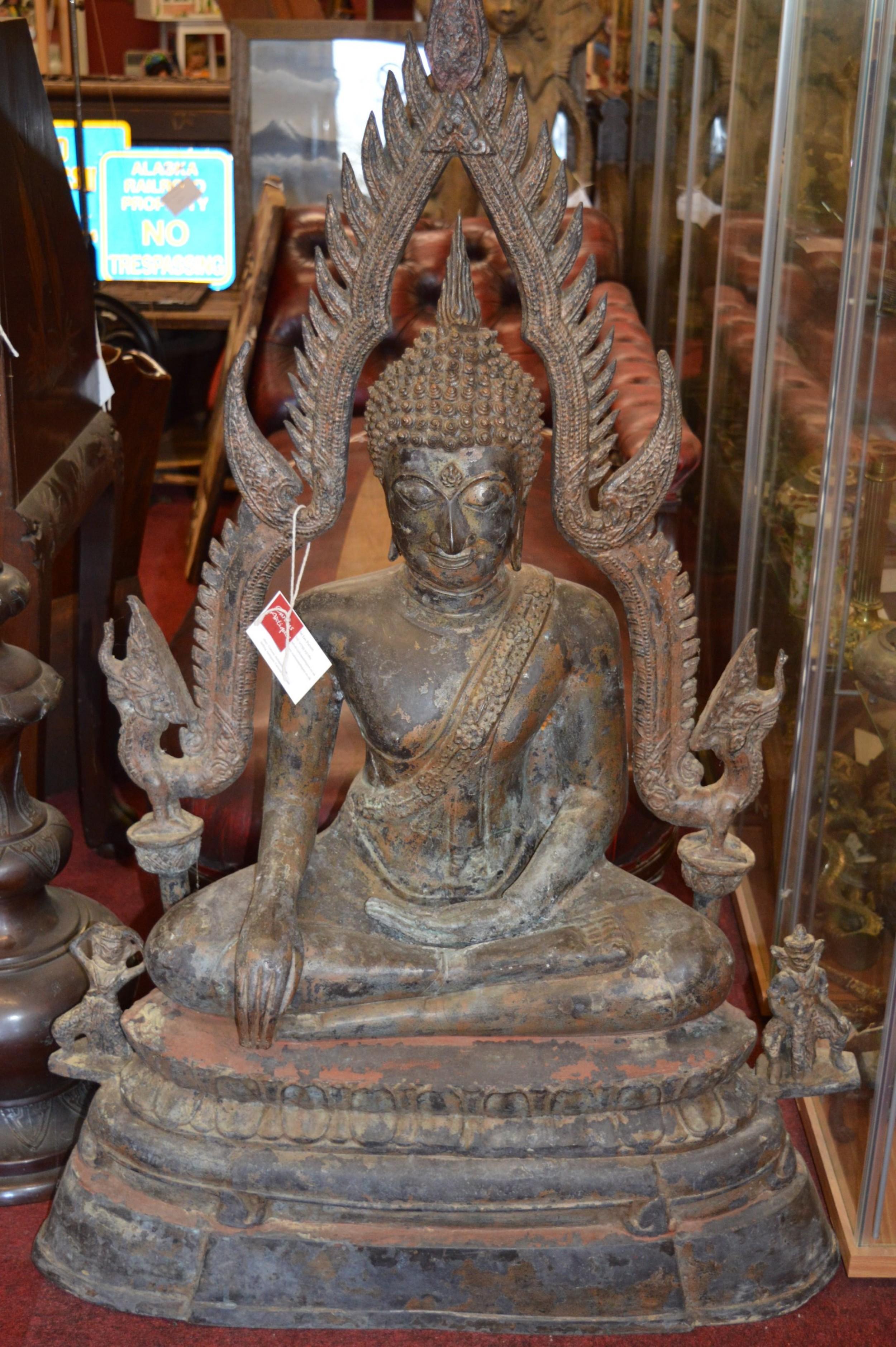 huge 4ft 19th century bronze statue buddhac1870