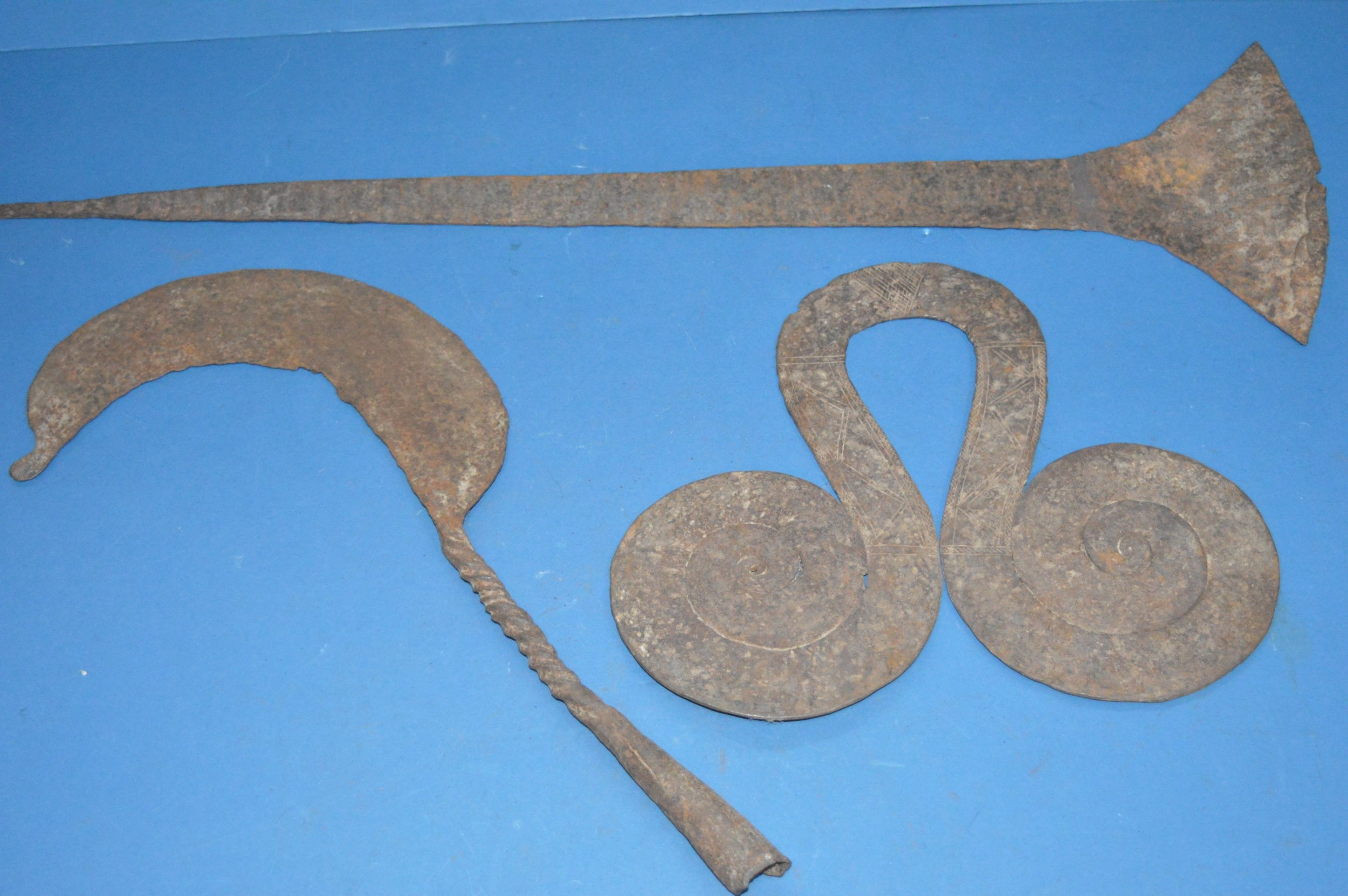 3 large 19th century african cast iron currency pieces congo c1890 pt of collection 21 pieces