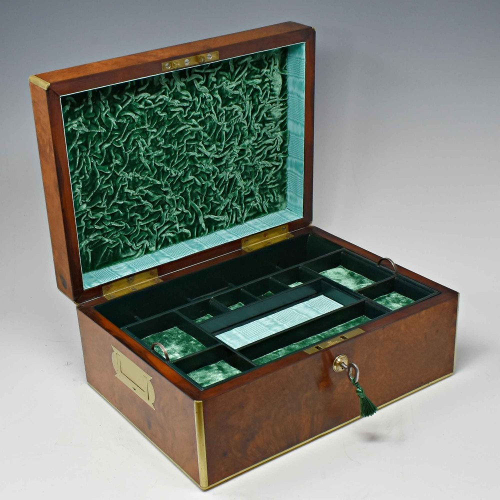 antique amboyna jewellery box