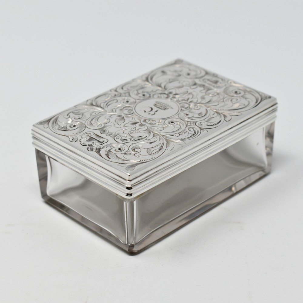 fine antique sterling silver topped table box