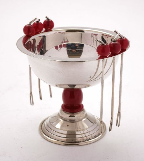 lovely art deco silver plated olive dish with cocktail sticks circa 1930