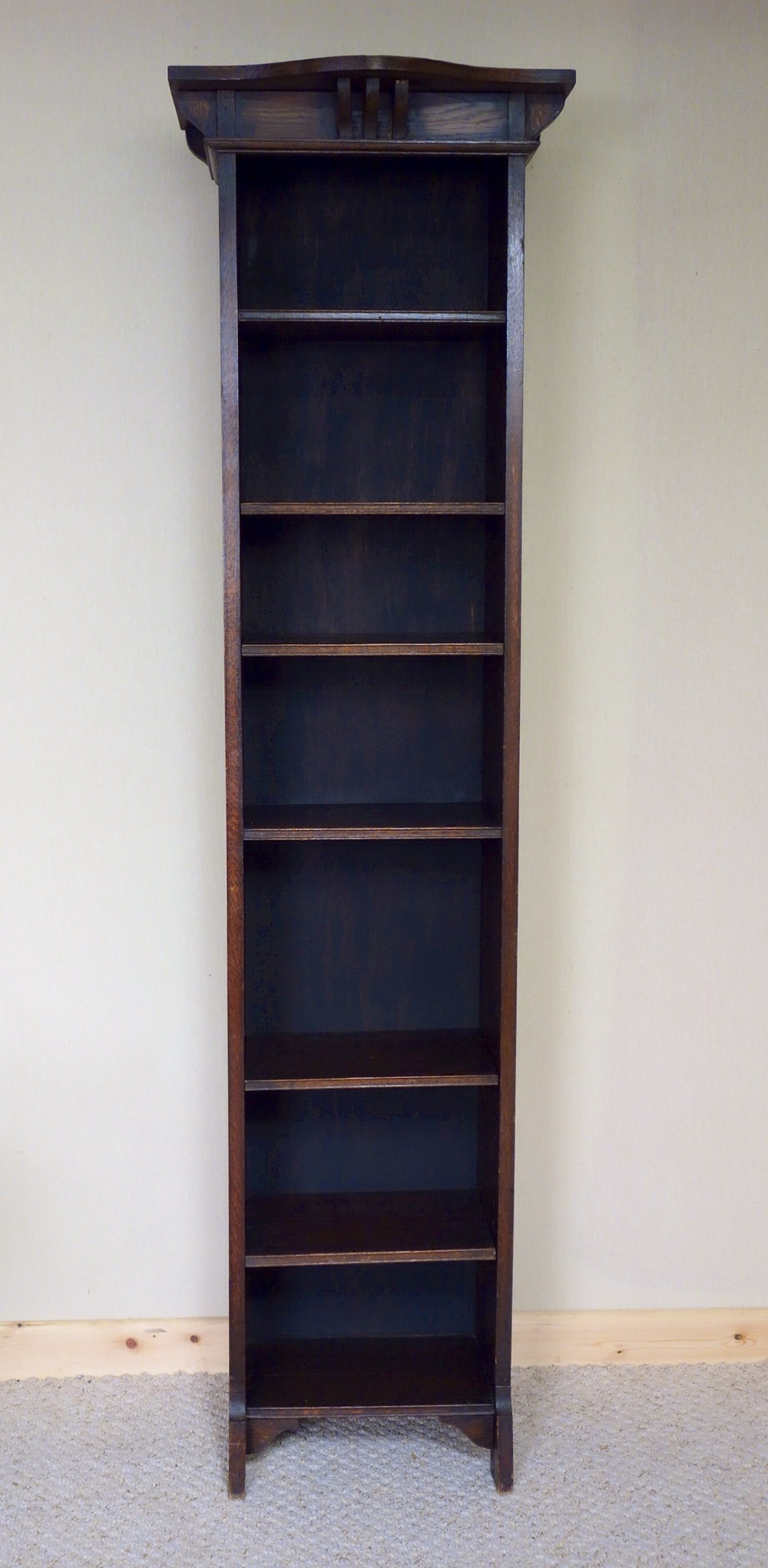 6ft Tall Narrow Oak Bookcase Art Nouveau 300340