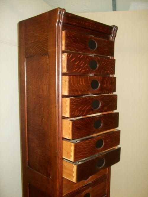 Very Narrow Amp Tall Amberg Oak Filing Cabinet Drawers