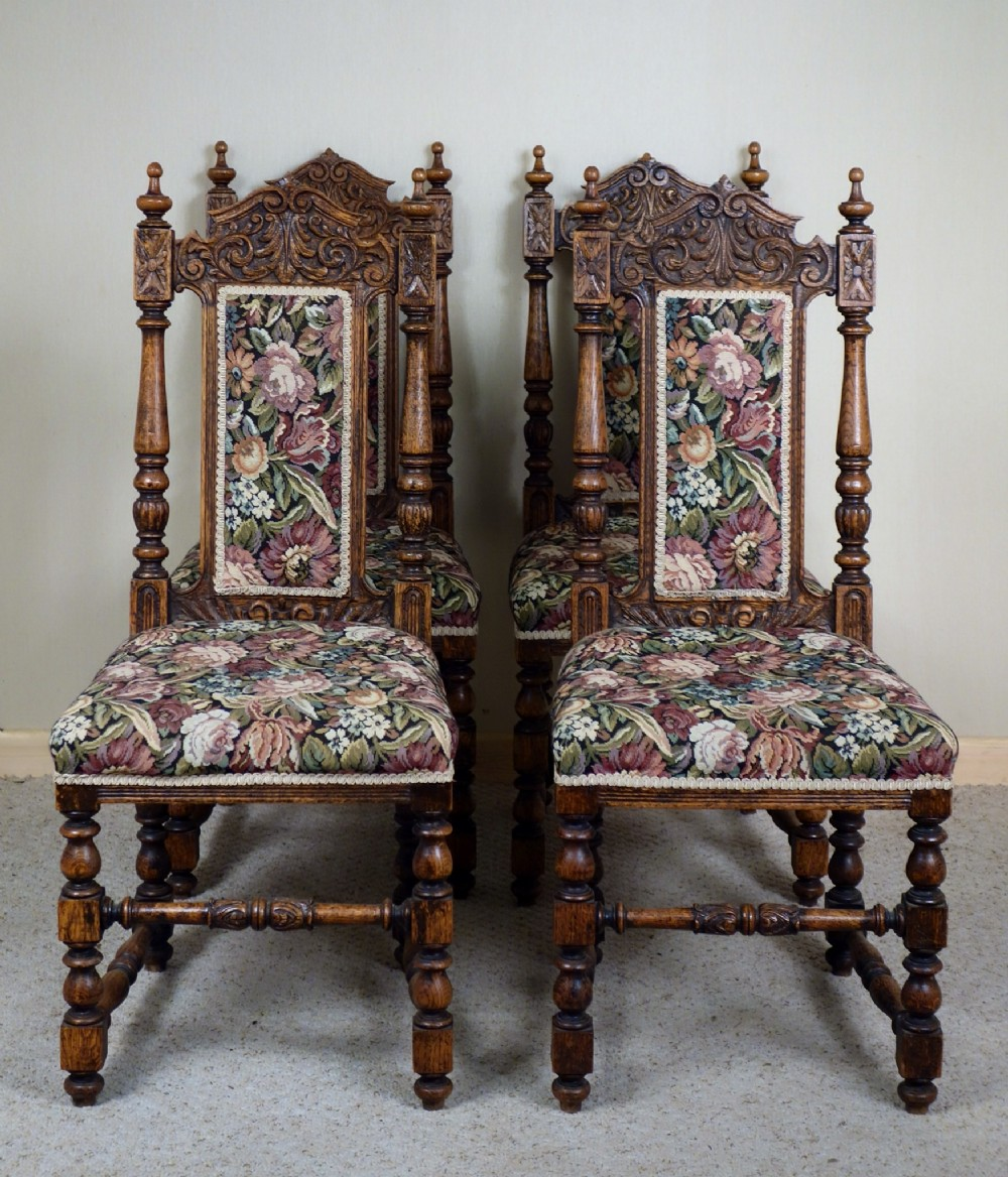 Antique victorian dining chairs - Set Of Four Carved Victorian Oak Dining Chairs Antique Photo
