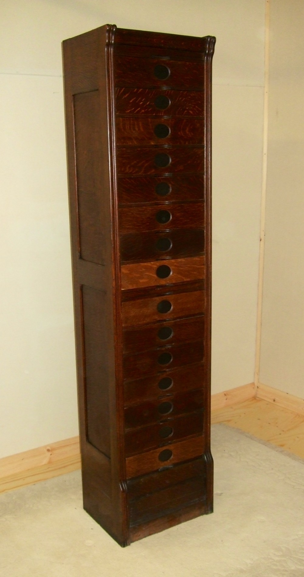 Very Narrow Tall Amberg Oak Filing Cabinet Drawers