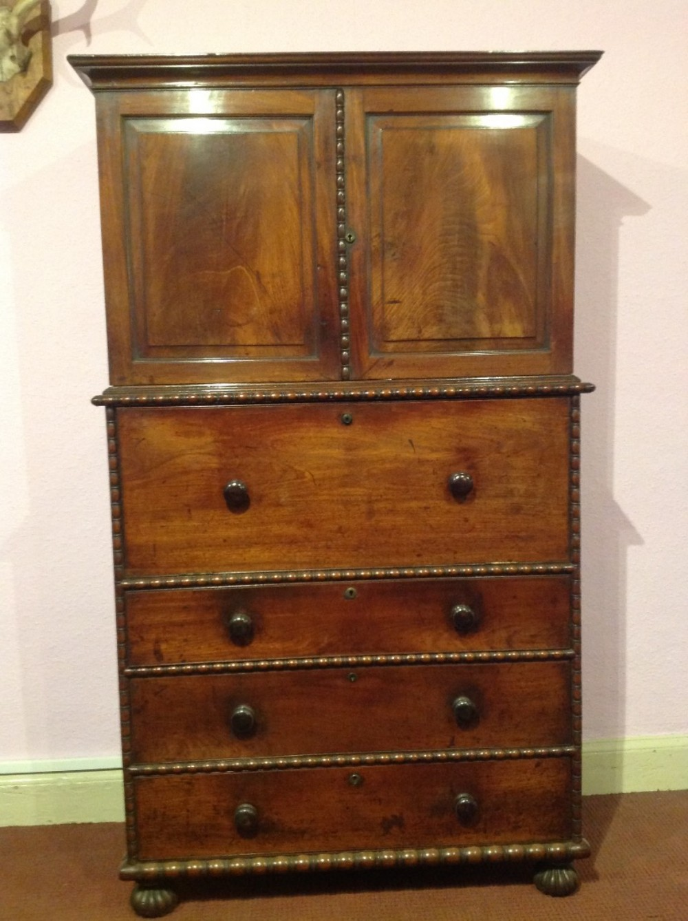 early 19th century mahogany campaign secretaire cabinet