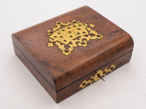 nice victorian burr walnut card box circa 1890