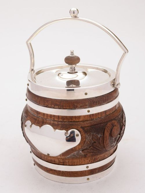 gorgeous victorian oak and silver plated biscuit barrel circa 1890