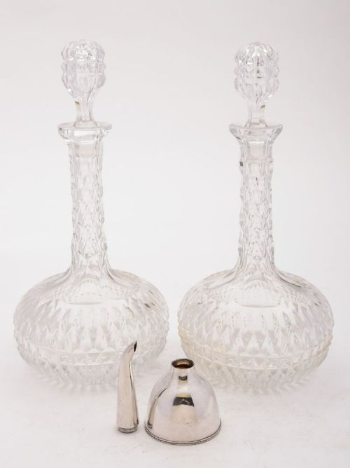 stunning pair of edwardian decanters with funnel circa 1905