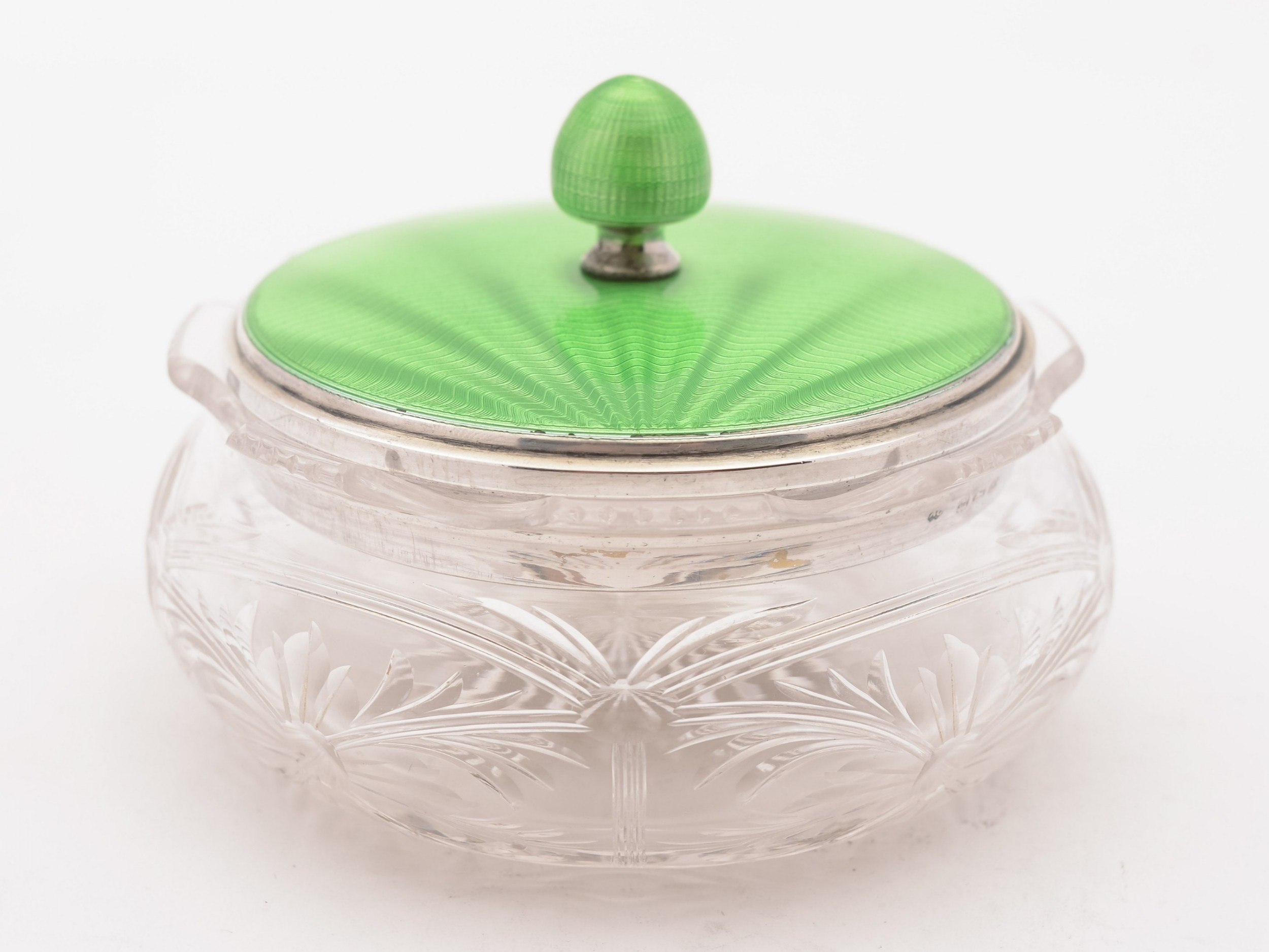 art deco silver and enamel topped jar 1934