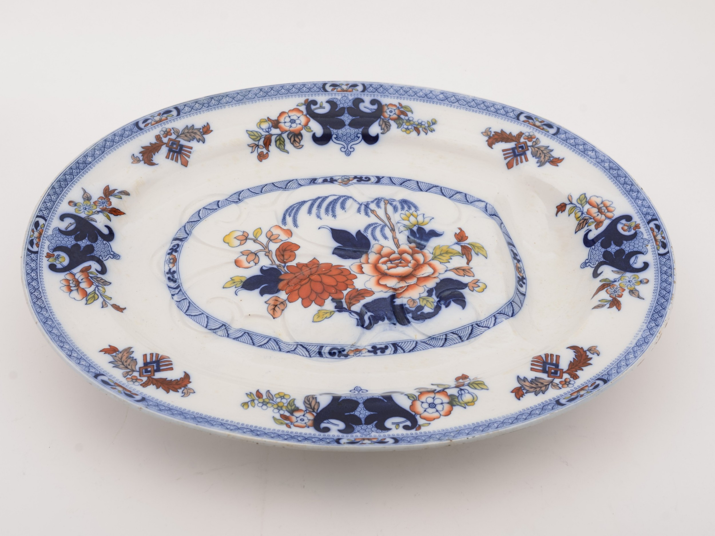 large minton well and tree serving dish circa 1900