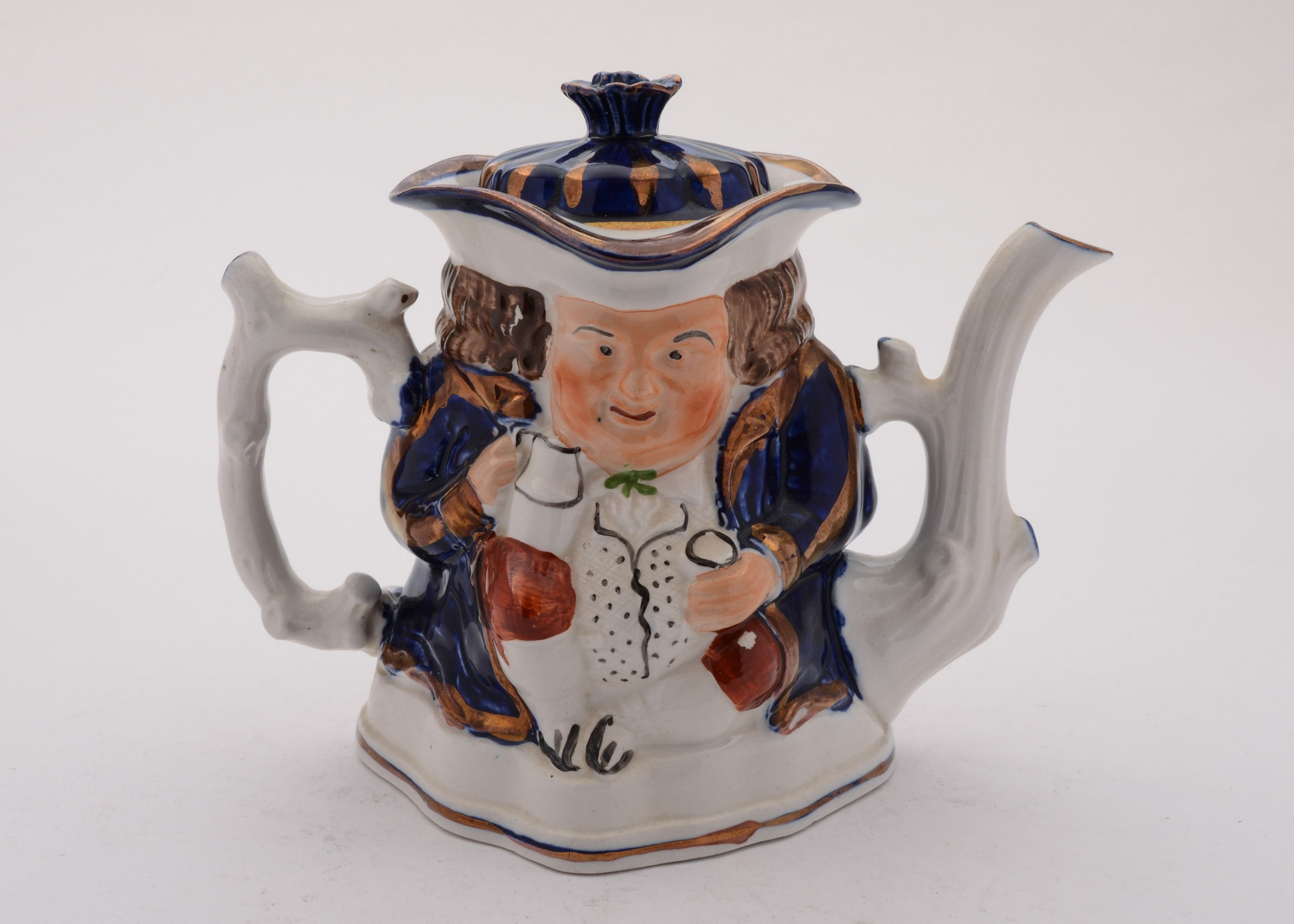 lovely toby style staffordshire china teapot circa 1890