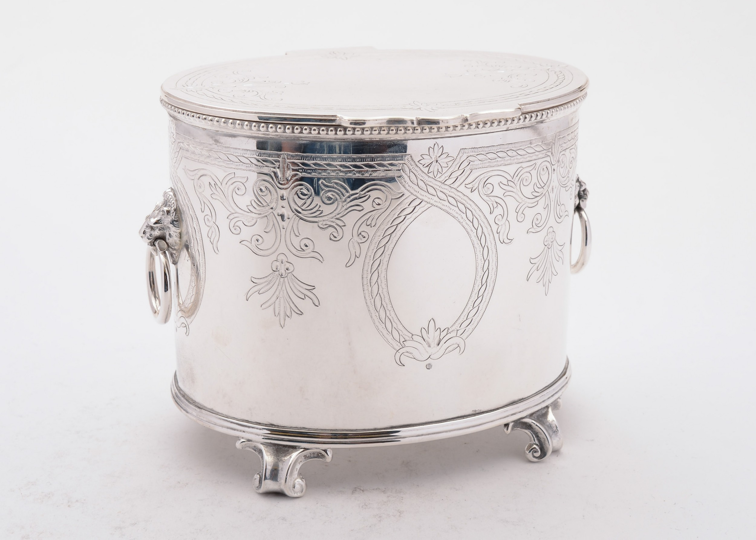 wonderful victorian oval silver plated biscuit box circa 1890