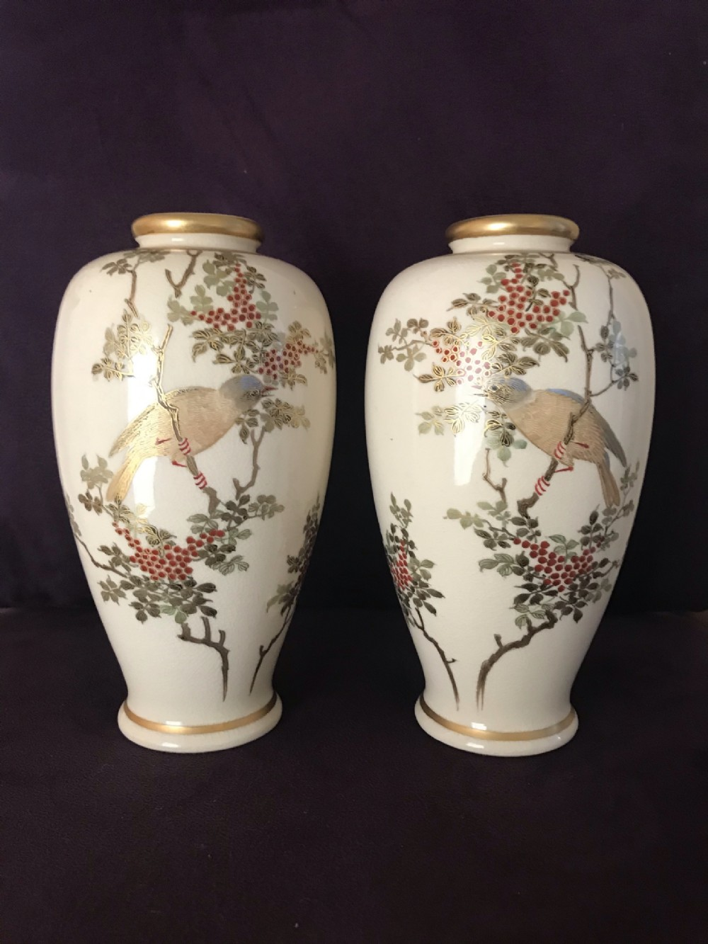 a pair of japanese satsuma vases by kizan