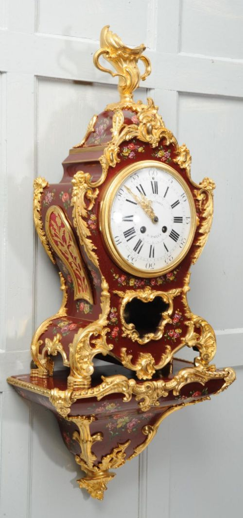 superb red lacquer and ormolu bracket clock