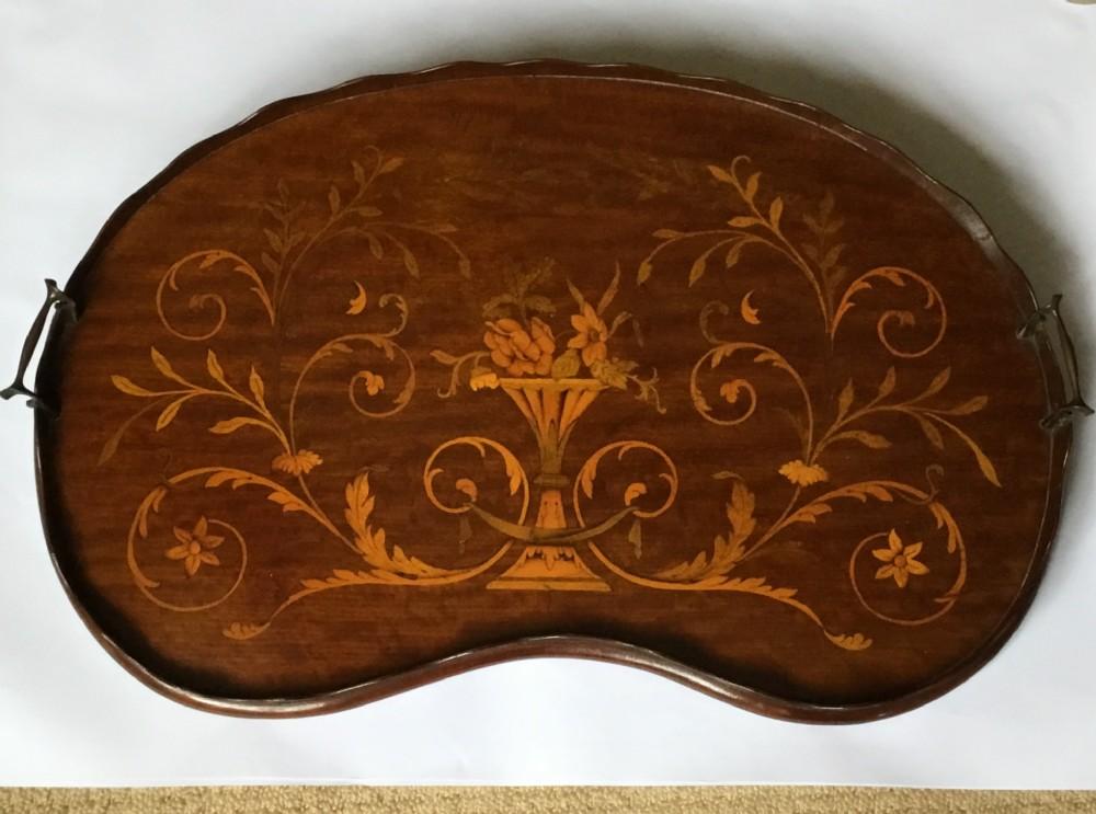 edwardian sheraton revival inlaid mahogany tray