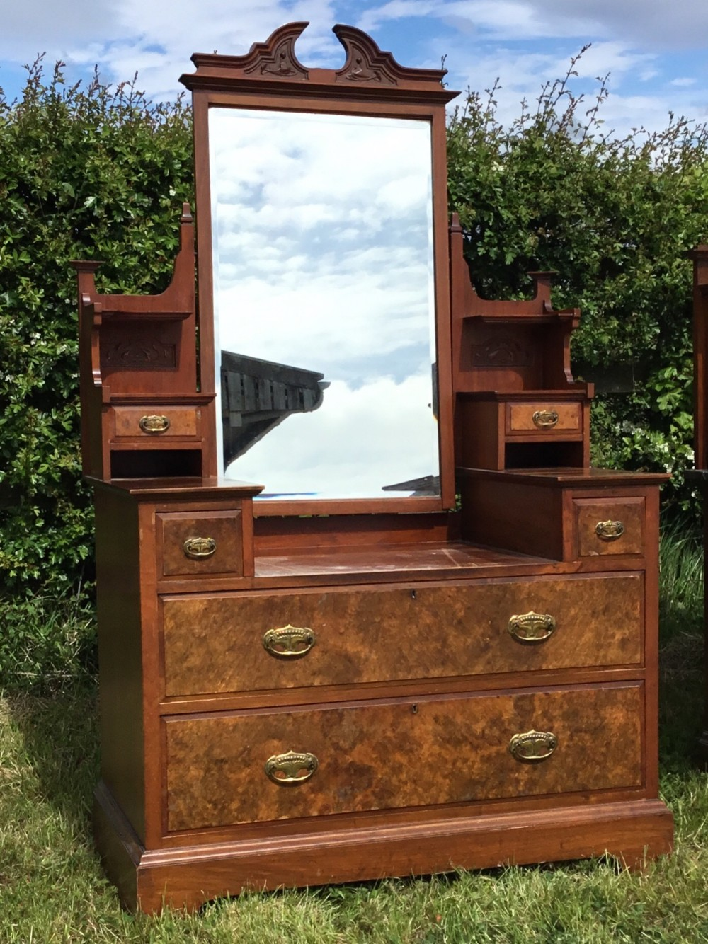 stunning victorian walnut dressing chest with mirror