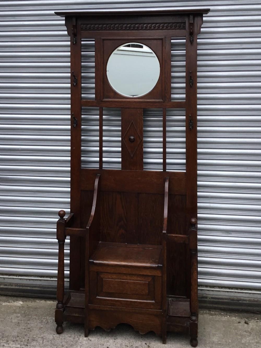 quality oak seated hallstand