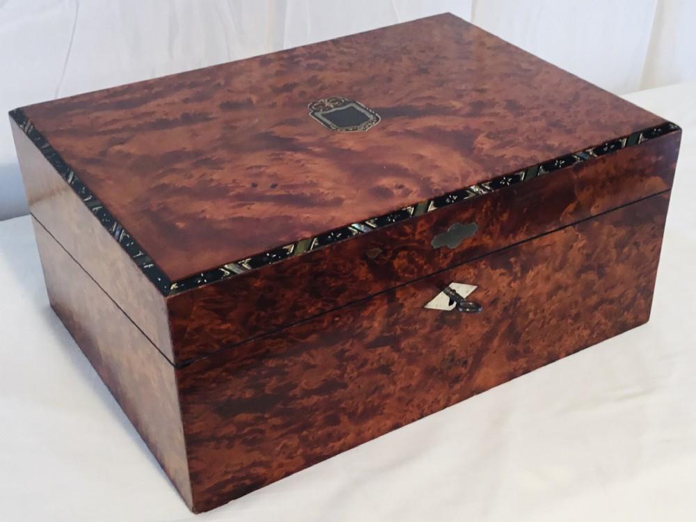 superb burr wood travelling writing box