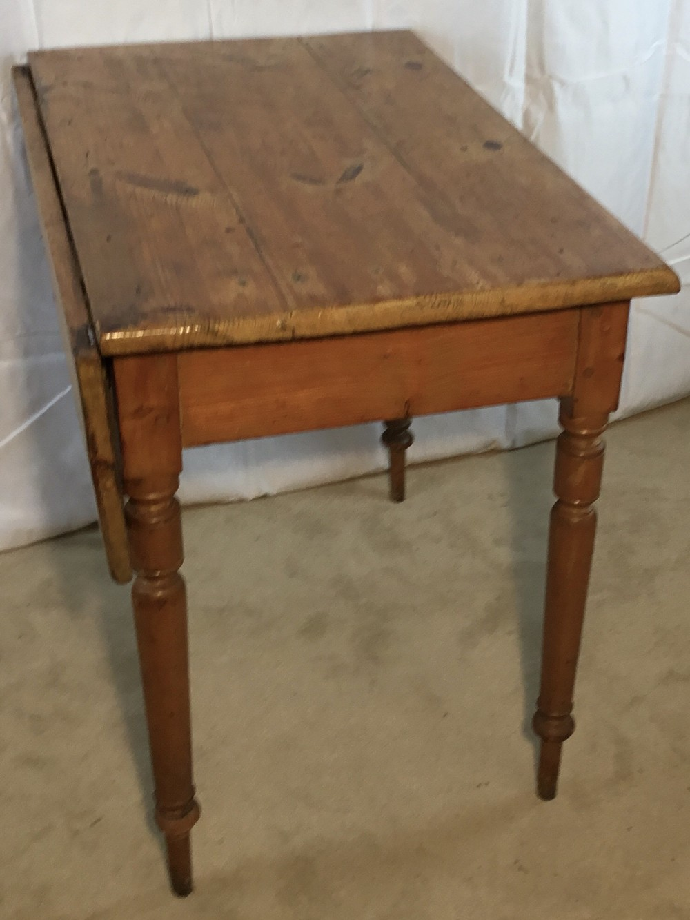 victorian pine side table with flap