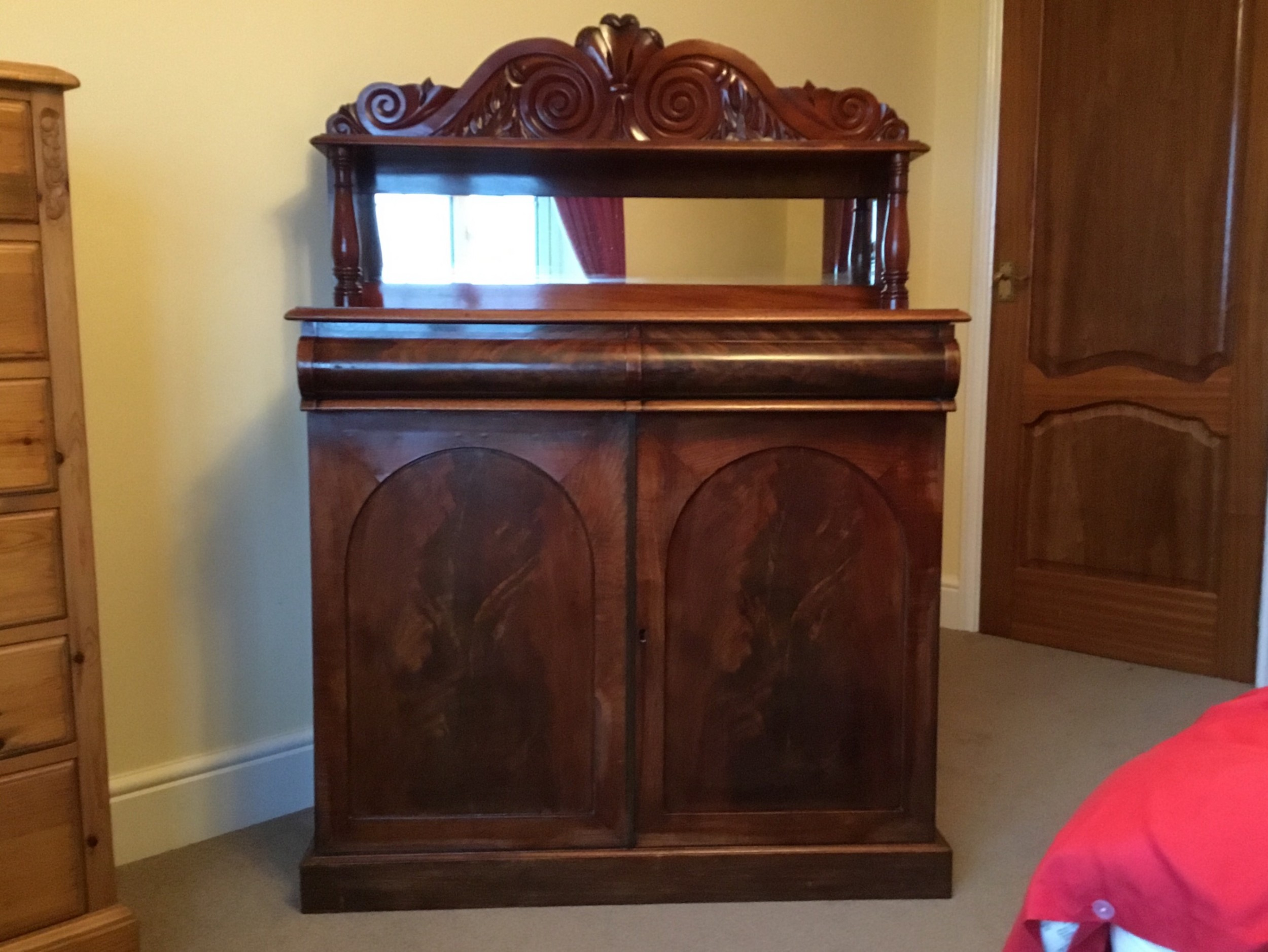 classic victorian mahogany chiffonier or side cabinet