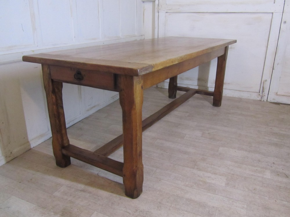 Large French Farmhouse Oak Dining Table From Brittany
