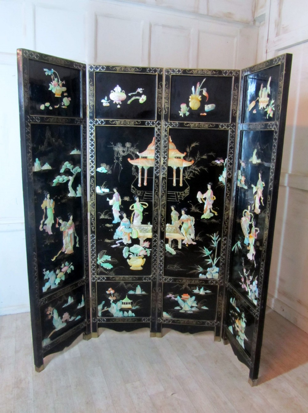 Very Large Japanese Decorated Lacquer And Mother Of Pearl