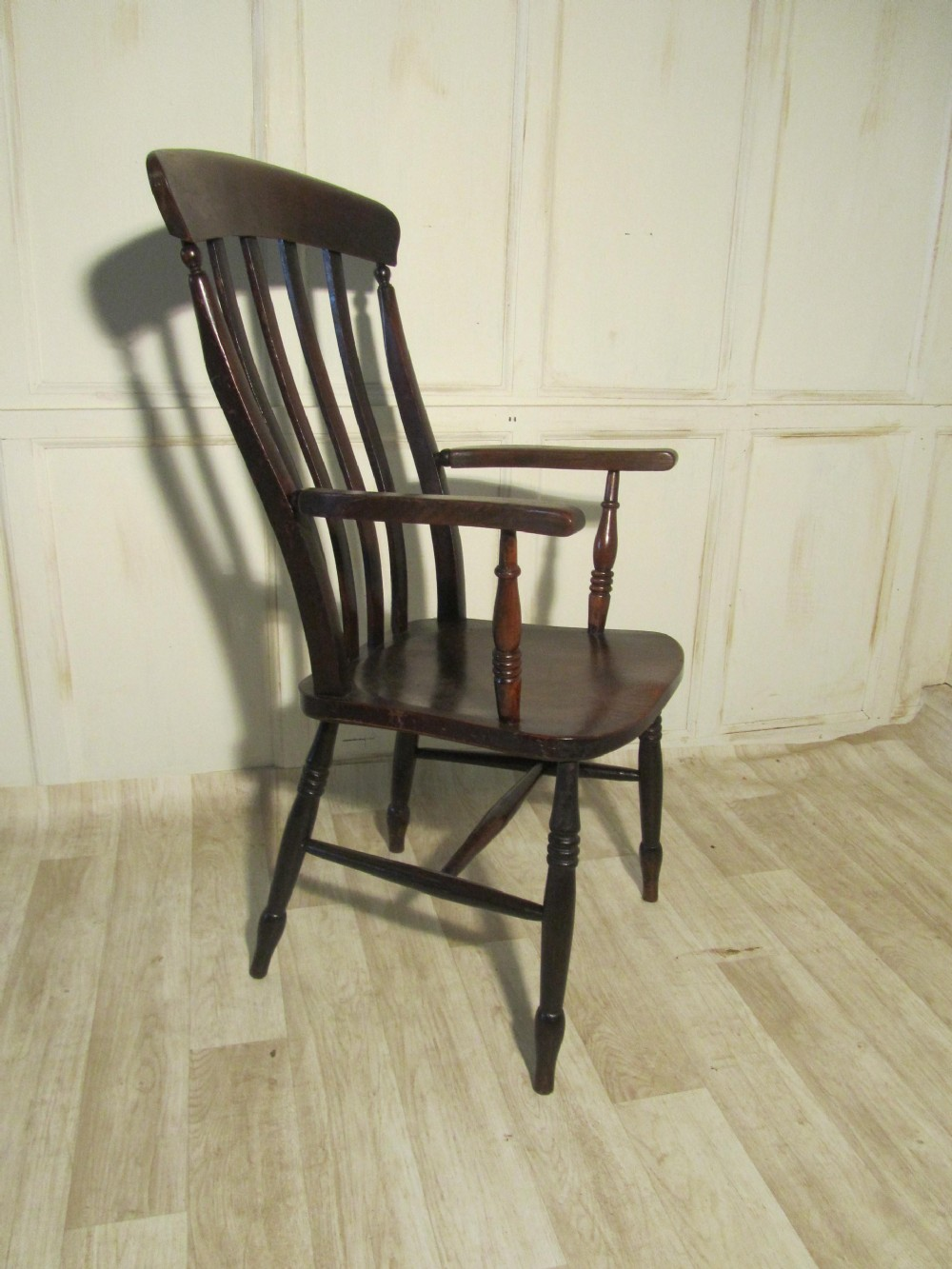victorian beech and elm slat back carver chair