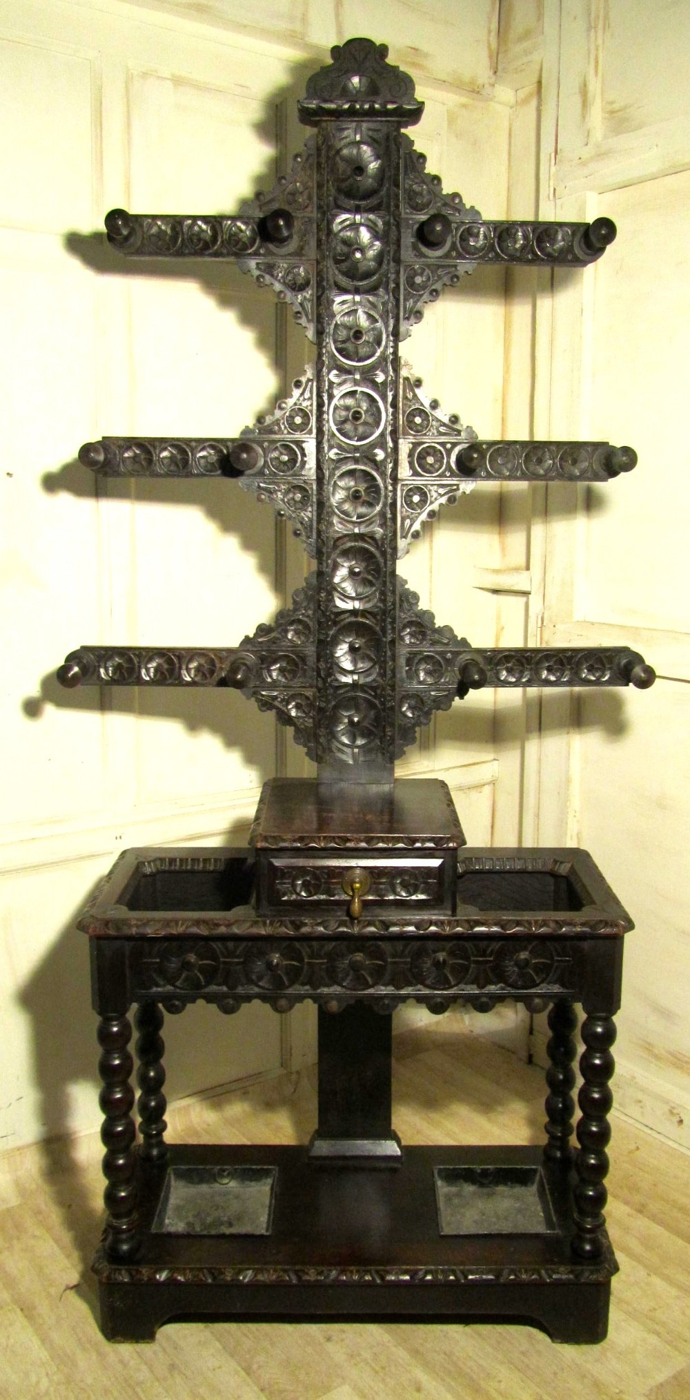 large victorian gothic carved oak tree hall stand william whiteley coat hat umbrella stand