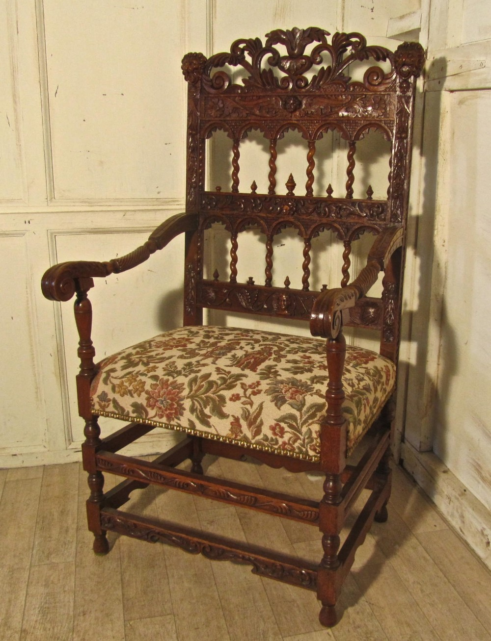 french 19th century carved oak arm chair throne or hall chair