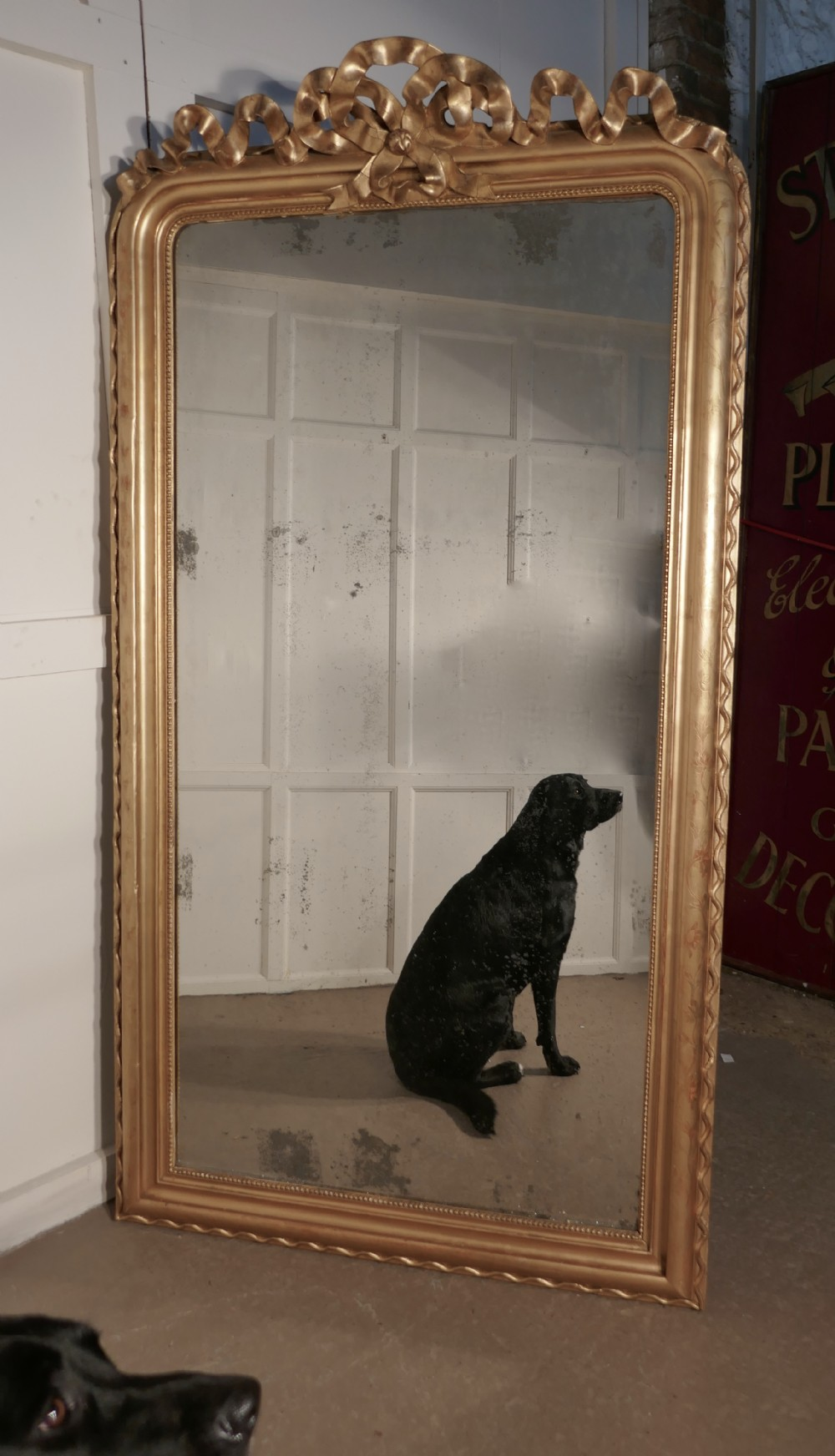 7ft tall french 19th century decorated louis philippe wall mirror