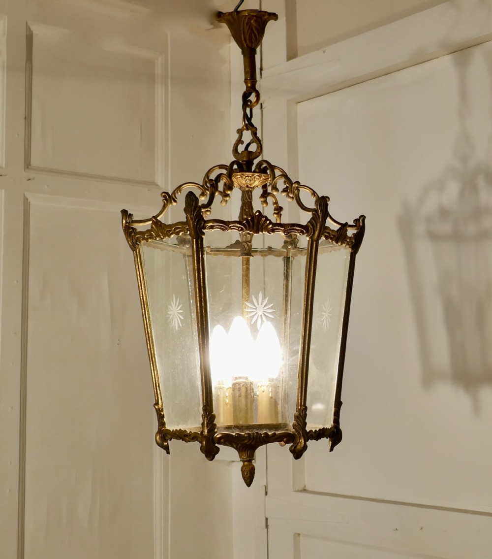 french rocco brass and etched glass lantern hall light