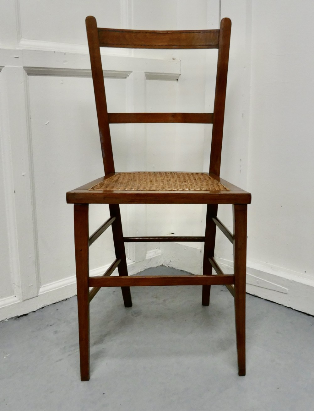 inlaid beech and cane bedroom chair