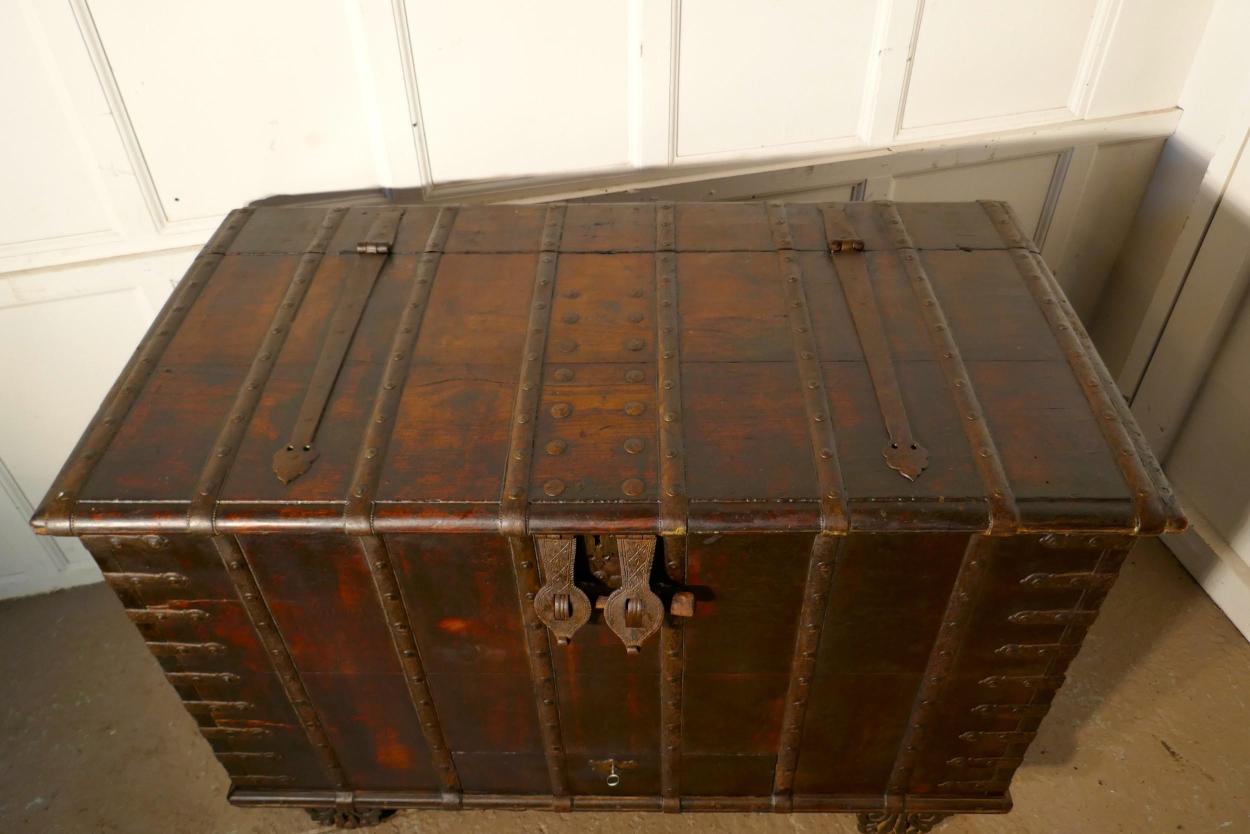 antique iron bound hardwood merchants chest armada chest