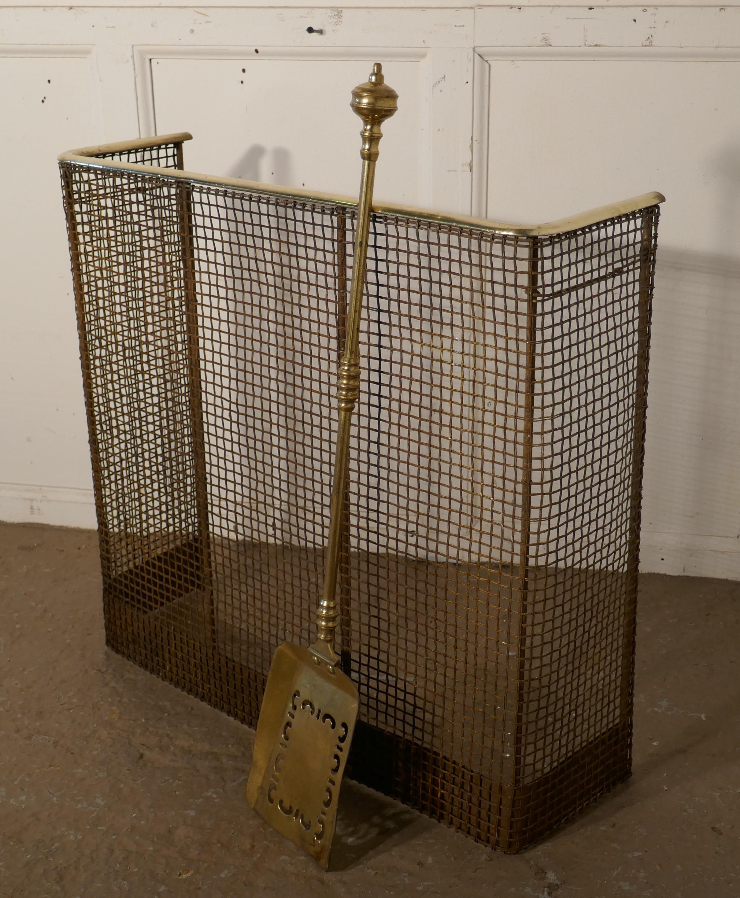 a petite high victorian nursery fire guard brass fender and shovel