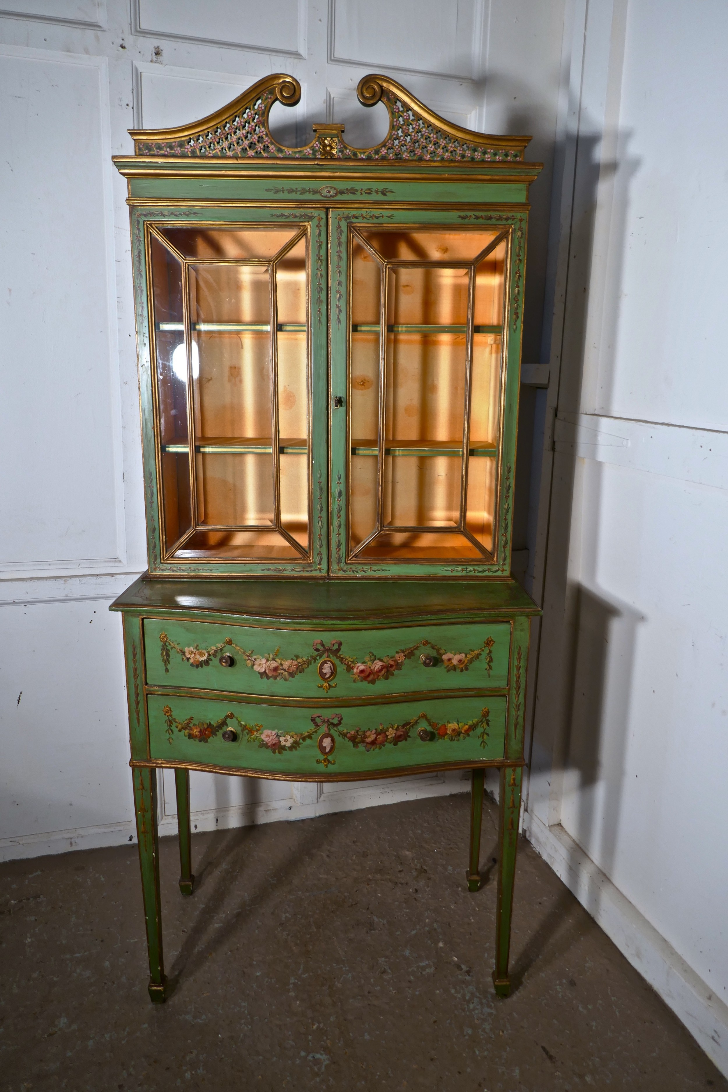 Edwardian Hand Painted Cabinet On Chest Of Drawers ...
