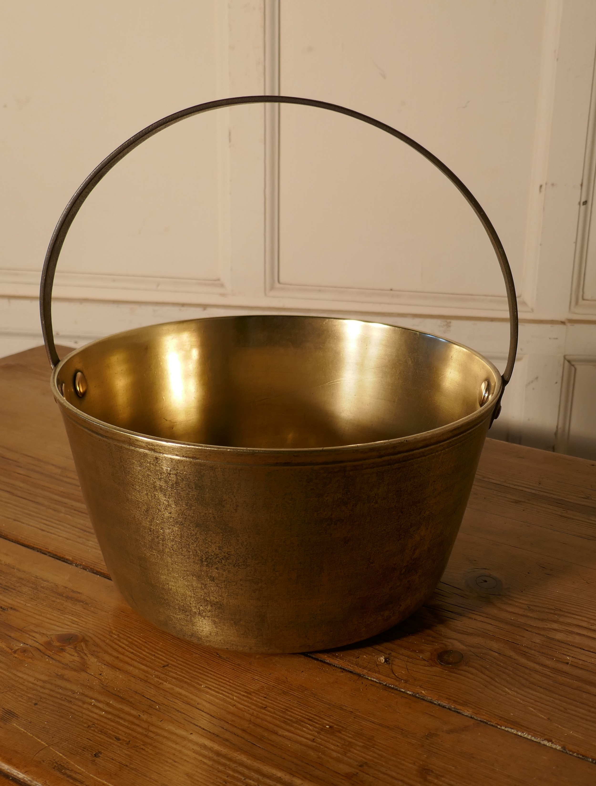 small 19th century brass preserving pan or cooking pot