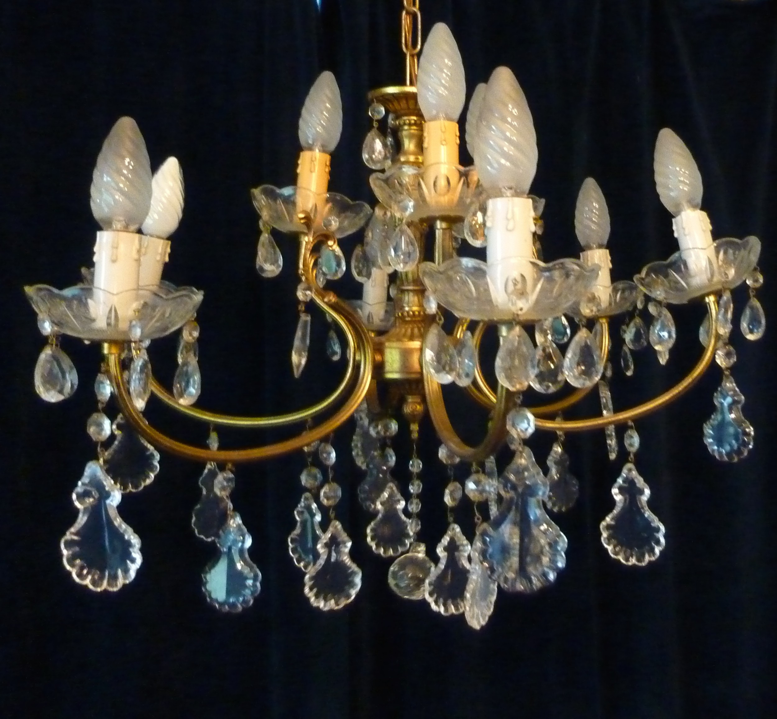 large french cut glass 9 lamp brass chandelier