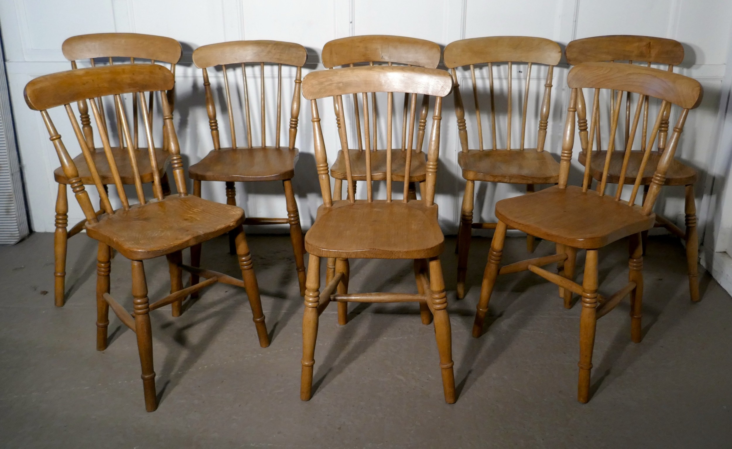 harlequin set of 8 victorian beech elm country kitchen chairs