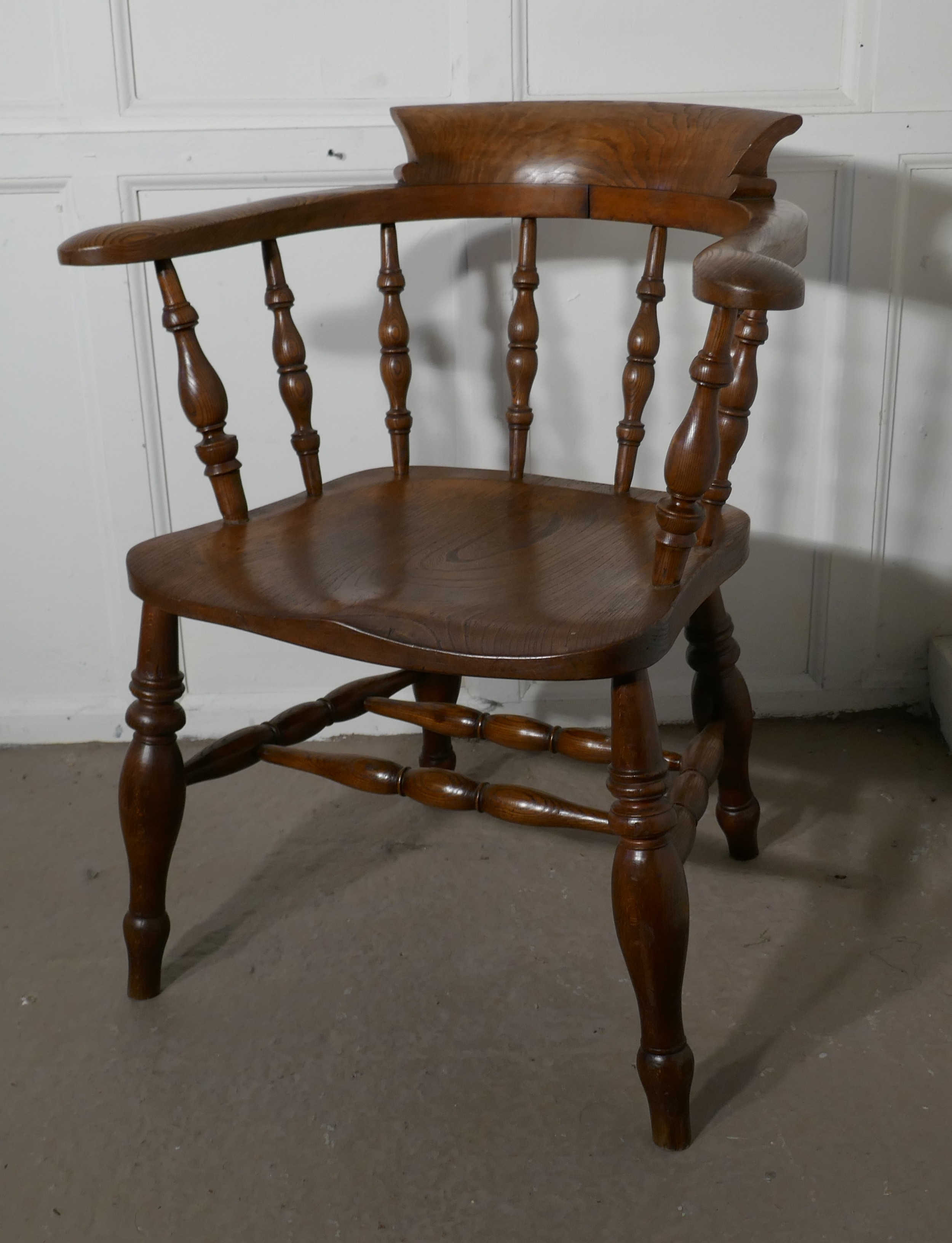 19th century elm ash smokers bow office or desk chair